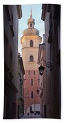 St. Martin's Church Bell Tower In Warsaw Bath Towel