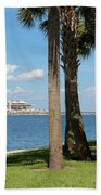 St Pete Pier Through Palm Trees Bath Towel