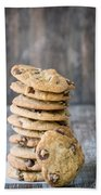 Stack Of Chocolate Chip Cookies With One Leaning Kitchen Art Bath Towel