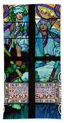 Stained Galss Window In St Vitus Bath Towel