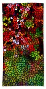 Stained Glass Autumn Leaves Reflecting In Water Bath Towel