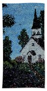 Stained Glass Church Scene Bath Towel