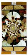 Stained Glass Template Sepia Flora Kalidescope Bath Towel