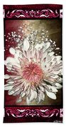 Stained Glass Template White Chrysanthemum Bath Towel