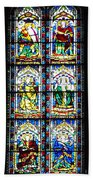 Stained Glass Window Of Santa Maria Del Fiore Church Florence Italy Bath Towel