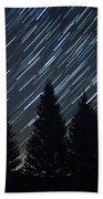 Star Trails And Pine Trees Bath Towel