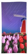 Star Trails Windmill And Tulips Bath Towel