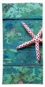 Seashore Peeling Paint - Starfish And Turquoise Bath Towel