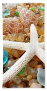 Starfish Art Prints Shells Agates Coastal Beach Bath Towel