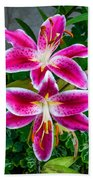 Stargazer Oriental Lilies Bath Towel