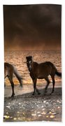 Starry Night Beach Horses Bath Towel