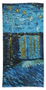 Starry Night Over The Rhone Bath Towel
