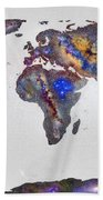 Stars World Map Bath Towel