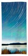 Startrails Aurora Borealis Display Lake Laberge Bath Towel