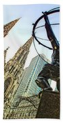 Statue Of Atlas Facing St.patrick's Cathedral Hand Towel