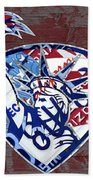 Statue Of Liberty On Stars And Stripes Flag Wood Background Recycled Vintage License Plate Art Bath Towel