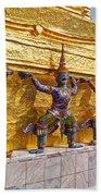 Statues At A Temple, Wat Phra Kaeo Bath Towel