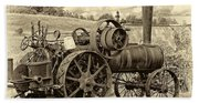 Steam Powered Tractor Sepia Bath Towel