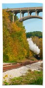 Steam Train Rounding The Curve Bath Towel