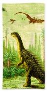 Stegosaurus And Compsognathus Dinosaurs Bath Towel