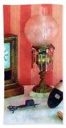 Stereopticon Lamp And Clock Bath Towel