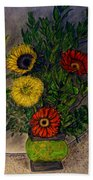 Still Life Ceramic Vase With Two Gerbera Daisy And Two Sunflowers Bath Towel