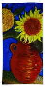 Still Life Clay Vase With Two Sunflowers Bath Towel