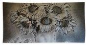 Still Life - Vase With 6 Sunflowers Bath Towel