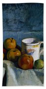 Still Life With Apples Cup And Pitcher Bath Towel