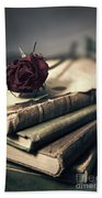 Still Life With Books And Dry Red Rose Bath Towel