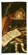 Still Life With Musical Instruments Oil On Canvas Bath Towel