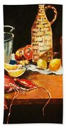 Still Life With Pots Fruit Etc. Hand Towel