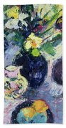 Still Life With Turquoise Bottle Hand Towel