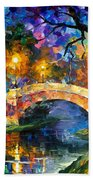 Stone Bridge - Palette Knife Oil Painting On Canvas By Leonid Afremov Bath Towel