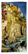 Stormy Day In Manarola - Cinque Terre Bath Towel
