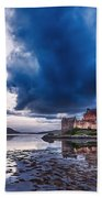 Stormy Skies Over Eilean Donan Castle Bath Towel