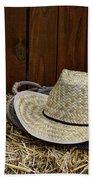 Straw Hat  On  Hay Hand Towel