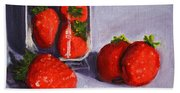 Strawberries And Glass Hand Towel