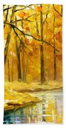 Stream In The Forest - Palette Knife Oil Painting On Canvas By Leonid Afremov Bath Towel