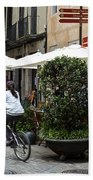 Street Corner Girona Spain Bath Towel