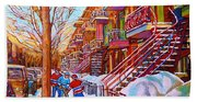 Street Hockey Game In Montreal Winter Scene With Winding Staircases Painting By Carole Spandau Bath Towel