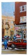 Street Hockey On Monkland Avenue Paintings Of Montreal City Scenes Hand Towel