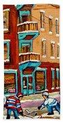 Street Hockey Practice Wilensky's Diner Montreal Winter Street Scenes Paintings Carole Spandau Bath Towel