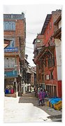 Street In Bhaktapur-city Of Devotees-nepal  Bath Towel