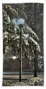 Street Lamp In The Snow Hand Towel