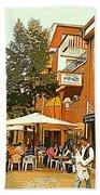 Street Musician Serenades The Terrace Umbrella Crowd At Ristorante Finzi Italienne Cafe Scene Bath Towel