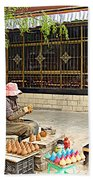 Street Shopkeeper In Lhasa-tibet Bath Towel