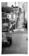 Street Vendor And Stairs In New York City Bath Towel