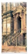 Streets Of Old New York City Watercolor Bath Towel