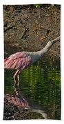 Stretched Out Pink Spoonbill Bath Towel